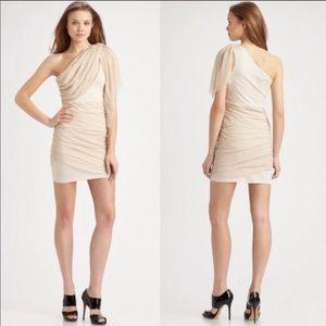 Alice + Olivia Dresses - Alice and Olivia One Shoulder Nude Dress M